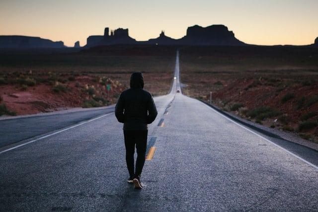 Man walk on the road